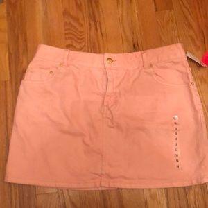 Mini denim skirt in pink